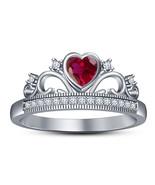 Womens Heart Shape Red Garnet Engagement Ring 14k White Gold Finish 925 Silver - $72.99
