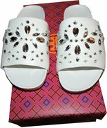 $325 Tory Burch Brae Crystals  Slide Sandals Flat Mules White Leather 5 ... - $99.99