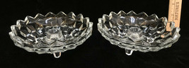 Fostoria American Candle Holders Dinner Clear Glass Cube Set 2 Vintage Footed - $16.82