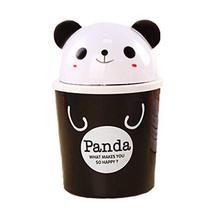 Set of 3 Black Panda Pattern Desktop Trash Mini Cartoon Plastic Storage Barrel