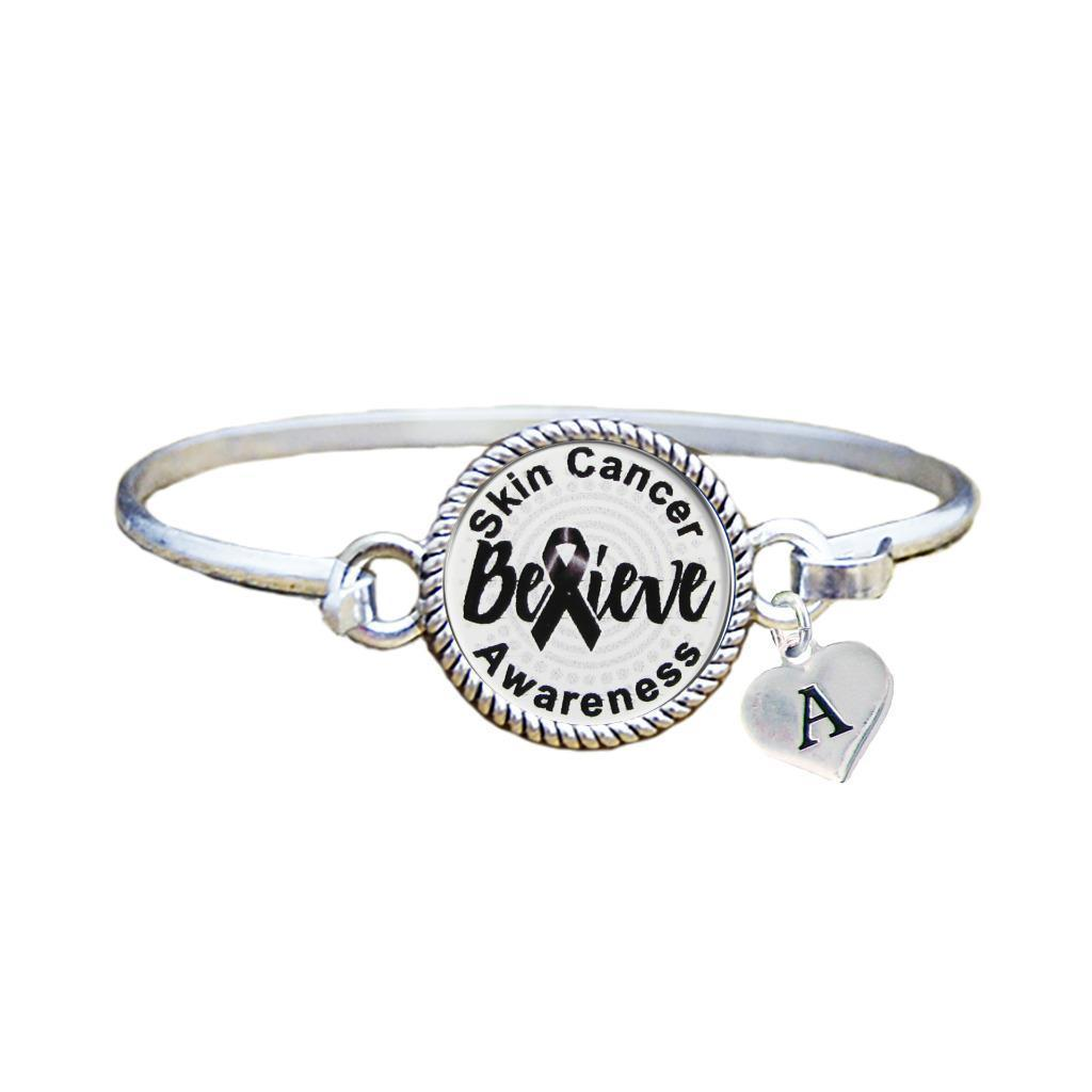 Primary image for Custom Skin Cancer Awareness Believe Silver Bracelet Jewelry Choose Initial