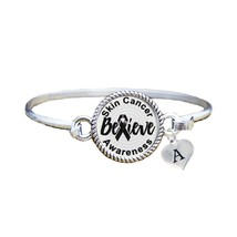 Custom Skin Cancer Awareness Believe Silver Bracelet Jewelry Choose Initial - $13.80+
