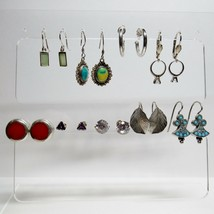 Vintage Lot 9 Pair Sterling Silver Stone Earrings Jewelry Pierced Ears 2... - $64.35