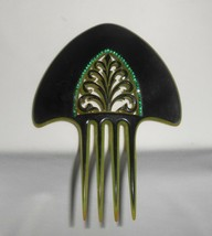Celluloid Rhinestone Hair Comb Vintage Antique Black Green Carved - $66.50