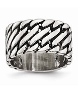 STAINLESS STEEL MENS POLISHED TREAD DESIGN RING 12MM WIDTH -  SIZE 9 - $44.43
