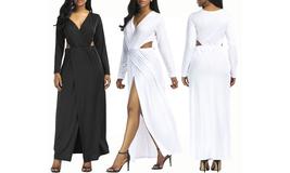 Women's Deep V Neck Hollow Out Maxi Dress - $25.55