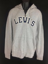 Men's grey cotton full zip hoodie sweatshirt Jacket Levi's Size S New wi... - $34.19