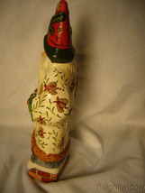Vaillancourt Folk Art White Brocaded Santa with Red Apple Swag Signed  image 2