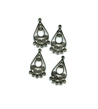 teardrop charms filigrees chandelier earring charms antique silver 27mm ... - $2.30