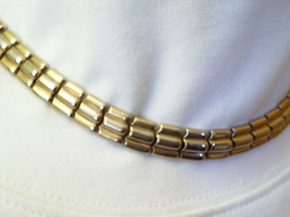 Crown Trifari Gold n Silver Plated Links Choker Necklace Signed Estate V... - $19.75