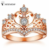 Tocean Rose Gold Color Romentic Handsome Wedding Rings for Women Crown C... - $15.99