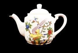 Teapot Made in Japan Bird Trees Flowers Vintage Fan Porcelain Hand Paint... - $14.84