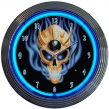 "8 Ball Skull Play Room Neon Clock 15""x15"" - $59.00"