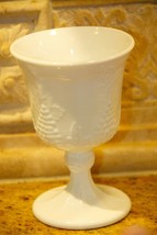 "Vintage Indiana Glass Harvest Grape White Milk Glass 5"" Stemmed Goblet UNUSED - $19.99"