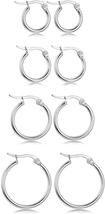 4 Pairs Big Hoop Earrings, Stainless Steel Hoop Earrings in Gold Plated ... - $19.90