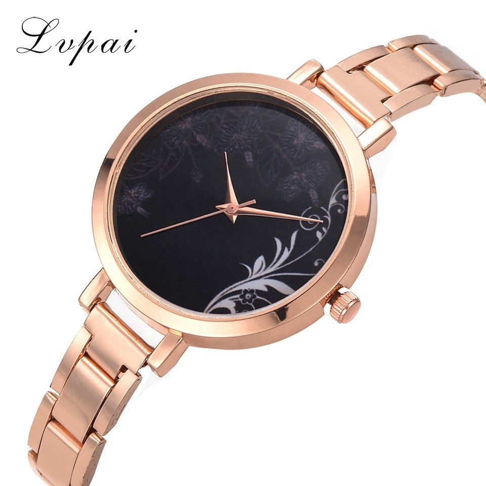 Lvpai® Rose Gold Flowers Women Fashion Luxury Watch Black Stainless Steel Ladies