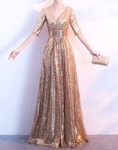 Women Long Sequin Dress Outfit Half Sleeve Wedding Gold Sequin Dress Plus Size image 1