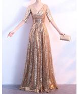 Women Long Sequin Dress Outfit Half Sleeve Wedding Gold Sequin Dress Plu... - $139.90