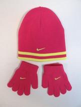 Nike Swoosh Pink & Yellow Knit Beanie & Knit Stretch Gloves Youth Girls 4-6X NWT - $25.98