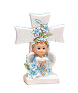 "2 boy angels under a cross 4.5"" tall christening communion decoration - $7.91"