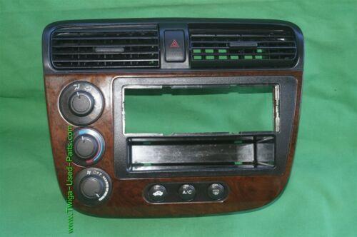 01-05 Acura EL Honda Civic Radio Bezel AC Control Dash Vents WoodGrain Trim