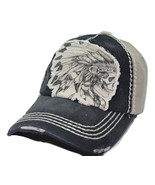 Native American Indian Skull Vintage Distressed Black & Tan Cotton Cap D... - $16.14