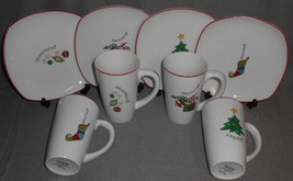 MINT IN BOX 8 pc Set Fitz Floyd HAPPY HOLIDAYS Plates and Mugs CHRISTMAS - $29.69