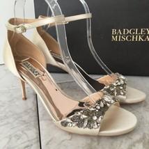 Badgley Mischka Bankston Ivory Satin Heels - Women's Size 8 M - Ivory - $232.65