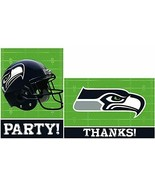Seattle Seahawks Party Invitations & Thank You Card Sets 16 Cards - $13.81