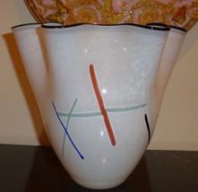 KOSTA BODA ULRICA HYDMAN VALLIEN WHITE RUFFLE RIM ART GLASS VASE #49948 - $79.00