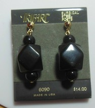 Trifari TM Gold-tone Black Dangle Surgical Steel Post Earrings  - $13.37