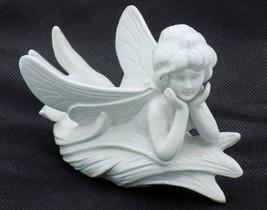 Vintage Fitz & Floyd Art Nouveau Fairy Candle Holder Figurine White Porcelain - $15.83