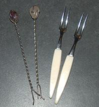 Vintage Small Dessert Pickles Olives Fork Lot of 4 Stainless Gems Bakelite  image 1