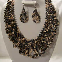 Natural Color Chunky Wooden Bead Bib Necklace & Earring Set  - $19.99