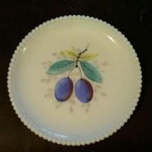 Westmoreland Milk Glass Beaded Edge Fruit Salad Plate 8 Inch Plums - $23.42