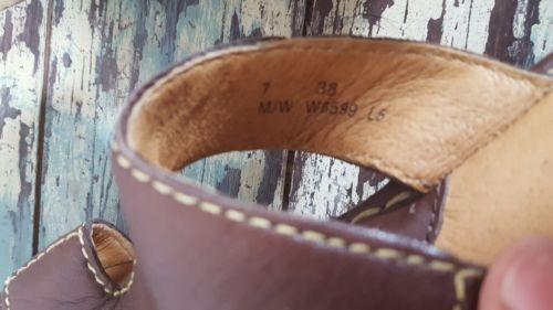 Born sandals 7 wedge espadrilles brown leather slides