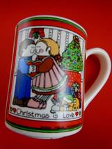 Vintage Susan Marie McChesney Mug Christmas Is Love Enesco 1983 - $5.53
