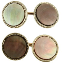 """Antique Deco GF Gold Filled Yellow & White Abalone Cufflinks 1/2"""" Wide - $64.79"""