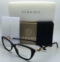New VERSACE Eyeglasses VE 3206 GB1 54-15 Black & Gold Frames w/Clear Demo Lenses