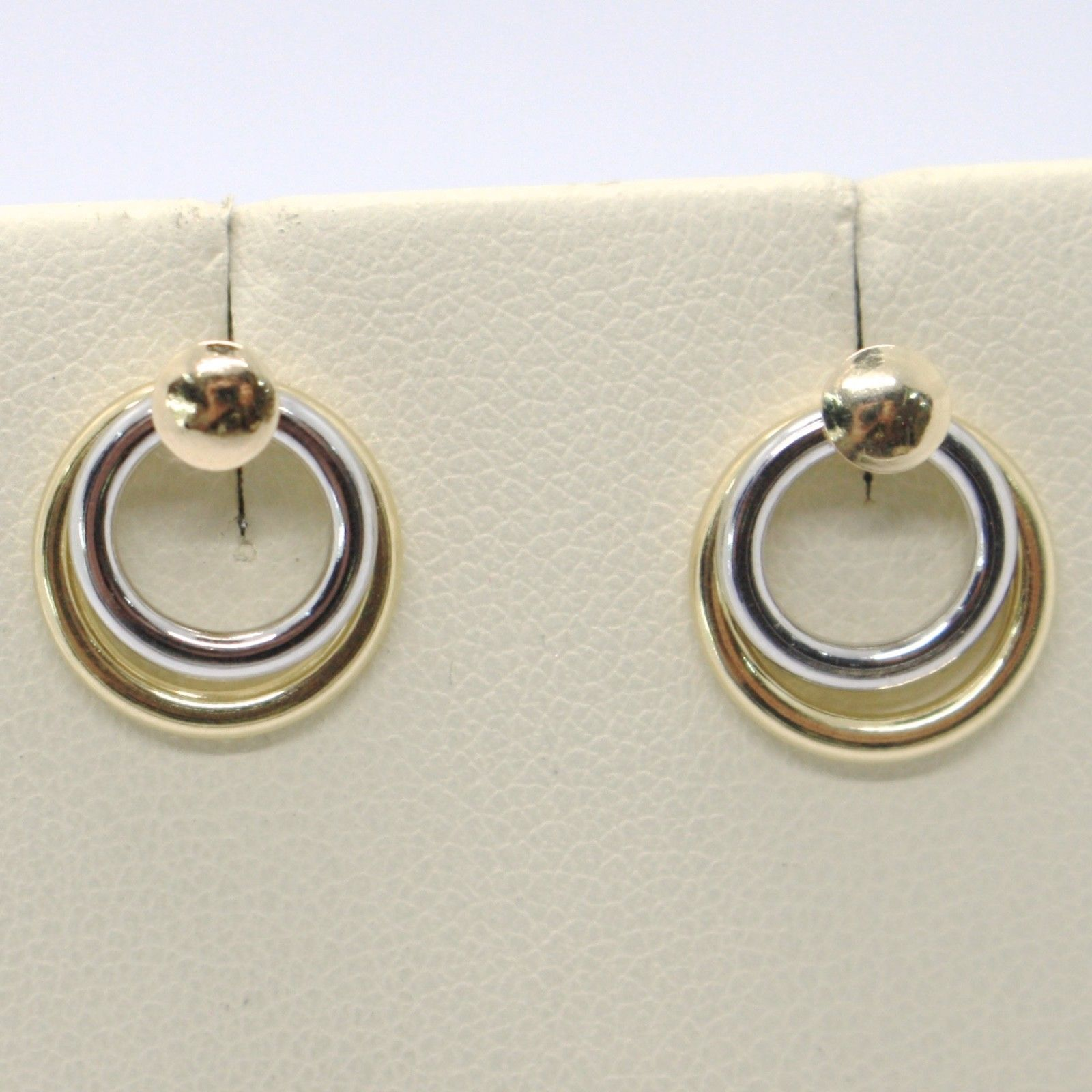 18K YELLOW WHITE GOLD PENDANT EARRINGS ALTERNATE DOUBLE CIRCLE, MADE IN ITALY