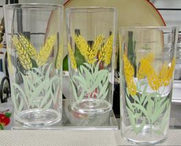 1940s Federal Glass Green Yellow Wheat Tumblers Set Of Three - $9.85