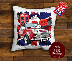 Mini Cooper Cushion Cover, Mini Cooper Cushion, Union Jack, Target, Poppy - $8.89+