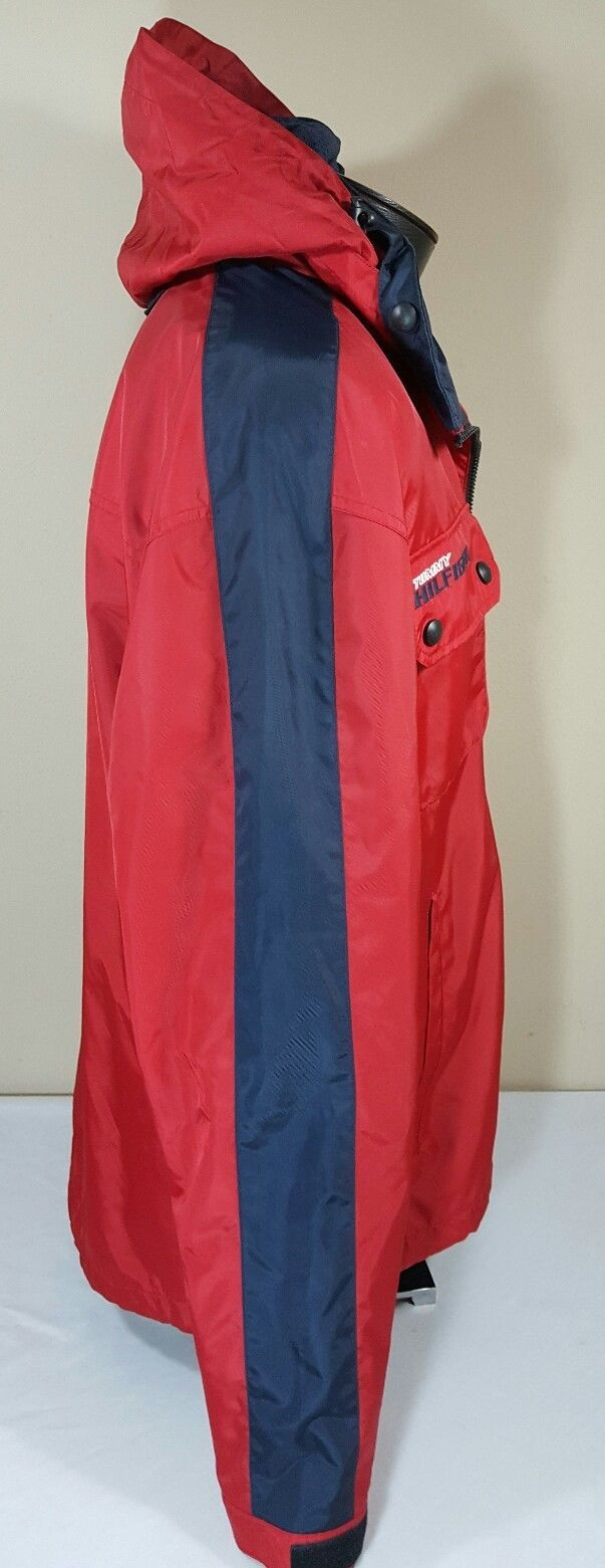 VTG Tommy Hilfiger Jacket Flag Windbreaker Colorblock 90's Spell Out XL Coat image 9