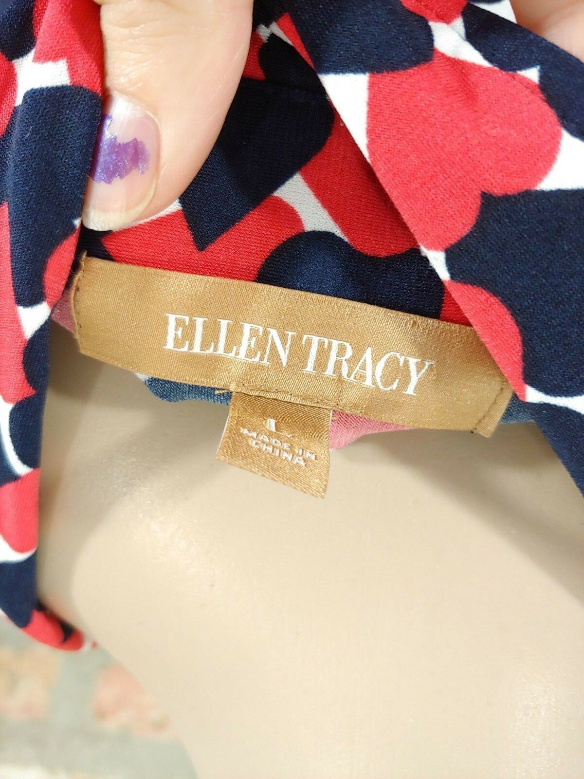 Ellen Tracy Blue Red Geometric Heart Print Striped Shift Henley Shirt Dress L