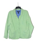 Denim And Company Green Denim Jean Jacket Large Women - $13.00