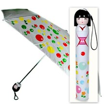 KOKESHI DOLL UMBRELLA White Folding w Hard Case Geisha Girl Japanese Lad... - $28.01