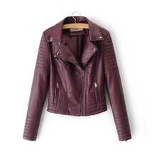 Women's burgundy biker faux leather moto jacket motorcycle autumn fall w... - $64.00