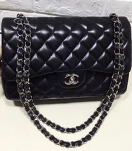 100% Authentic Chanel BLACK QUILTED LAMBSKIN JUMBO CLASSIC DOUBLE FLAP B... - $5,708.25 CAD