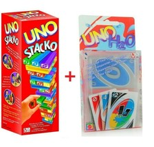 UNO Stacko Stacking Games Tower Building + UNO H2O Cards - $49.40