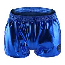 Men's sexy underwear faux leather metallics blue boxer briefs panties un... - $20.00